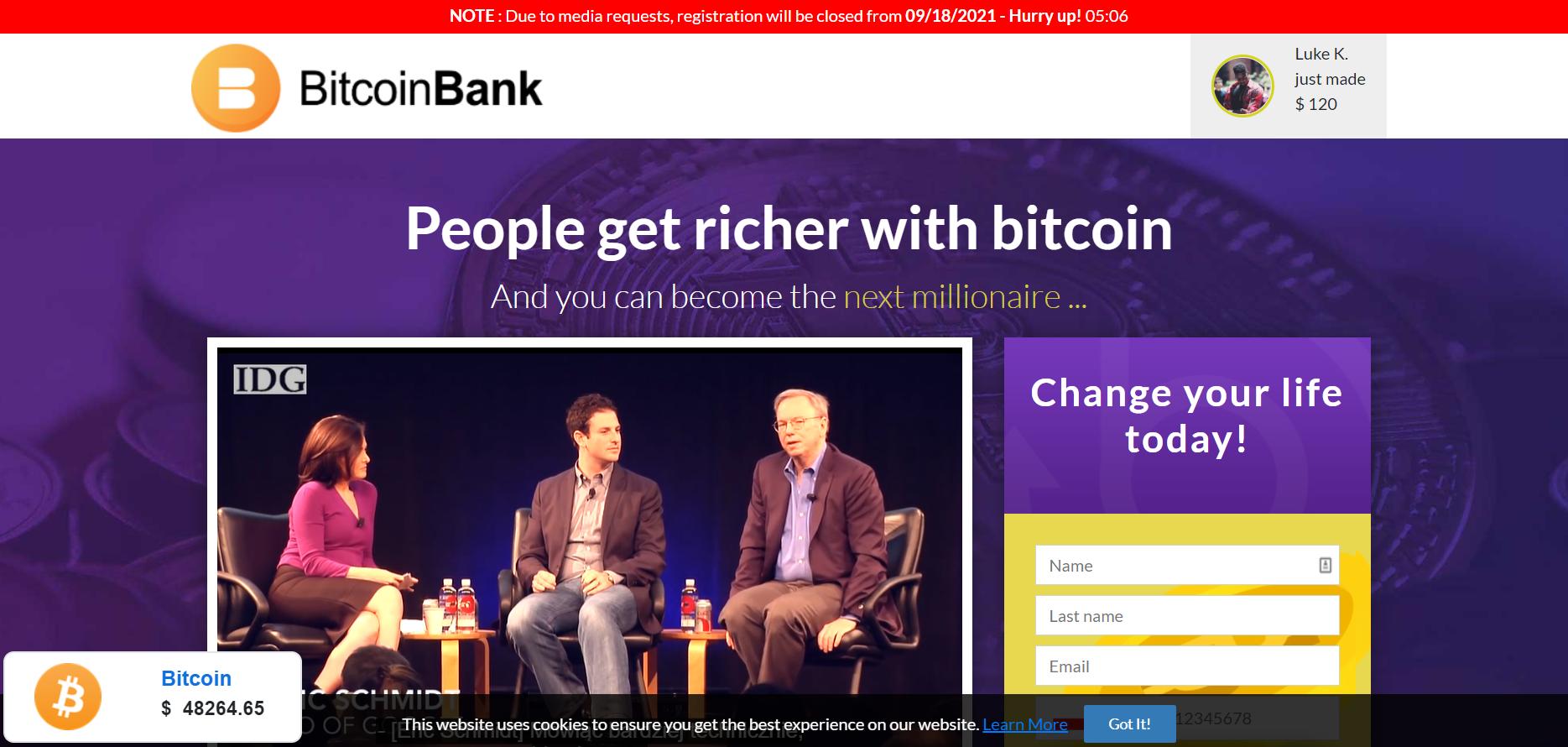 bitcoin bank review register