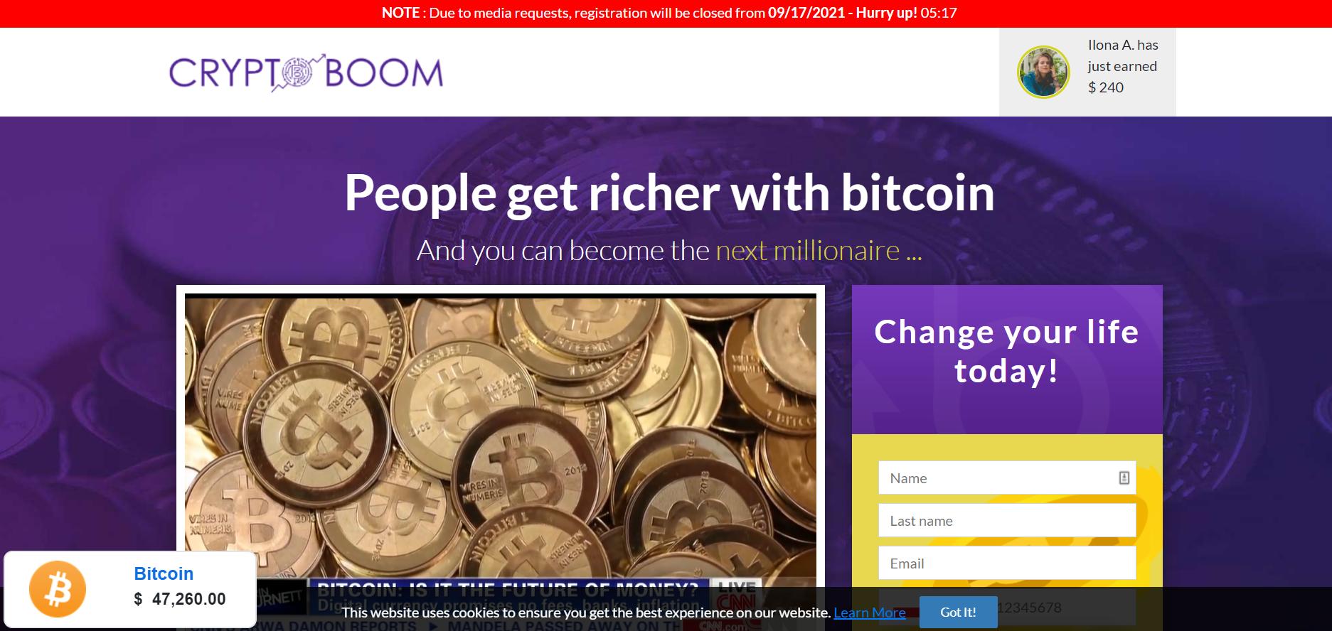 crypto boom register